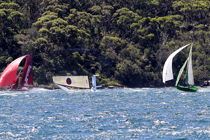 Go Yandoo.  Yandoo heads south on the spinnaker run.  Frank Quealey photo.